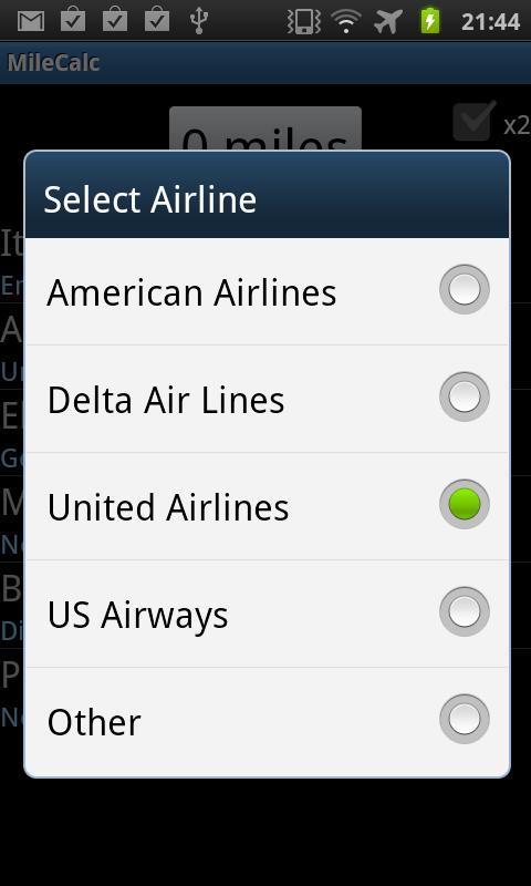 Airline Mileage Calculator- screenshot