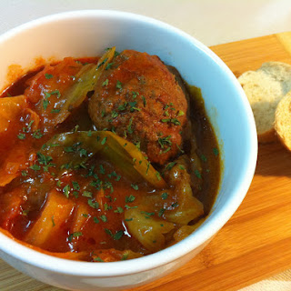 Meat Balls with Cabbage in Tomato Sauce