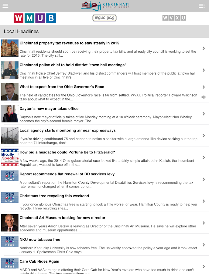 WMUB Public Radio App- screenshot