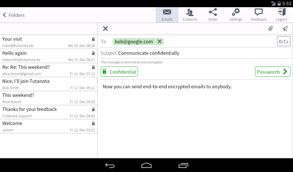 Tutanota: simply secure emails - screenshot