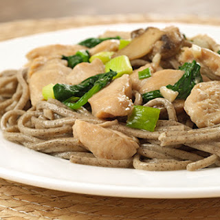Garlic-Ginger Chicken with Spinach and Soba Noodles.