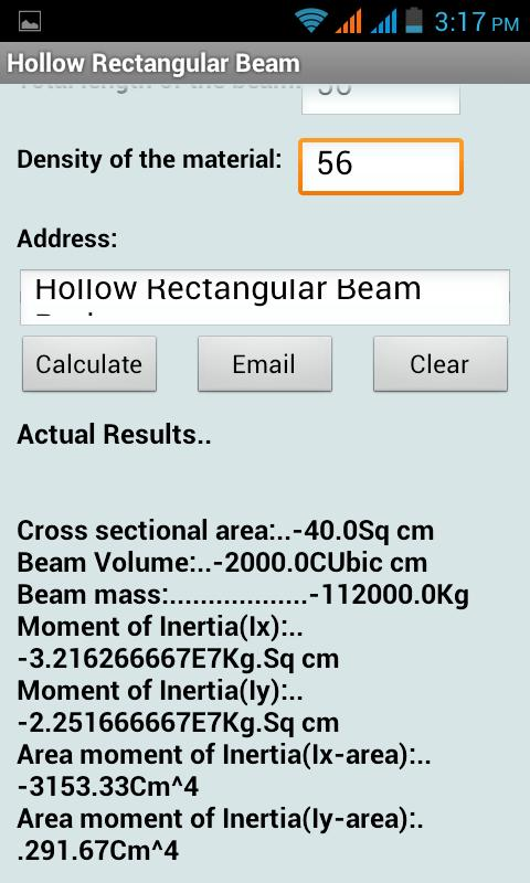 Hollow Rectangular Beam Calc - screenshot