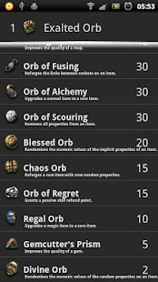 Path of Exile - Currency rates - screenshot thumbnail