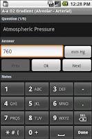 Screenshot of A-a Oxygen Gradient Calculator