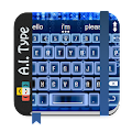 Download PERSONALIZATION Blue binary AiType Theme APK