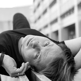 Relaxed by Christine Schmidt - Black & White Street & Candid ( street, candid, leica, portrait, man,  )