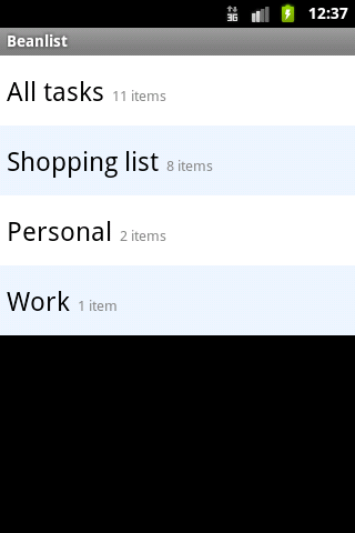 Beanlist - A free To Do list - screenshot
