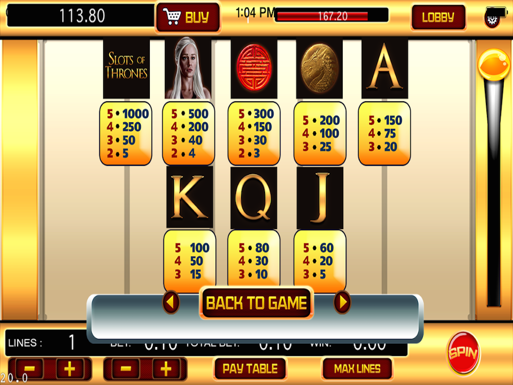 of thrones slot machine