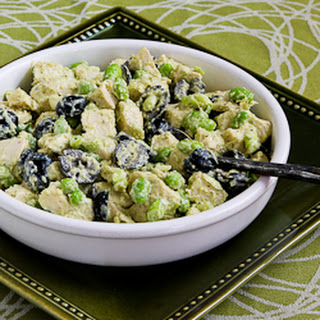 Leftover Chicken Pesto Salad with Edamame (or Peas).