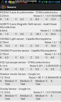 Screenshot of Sensors