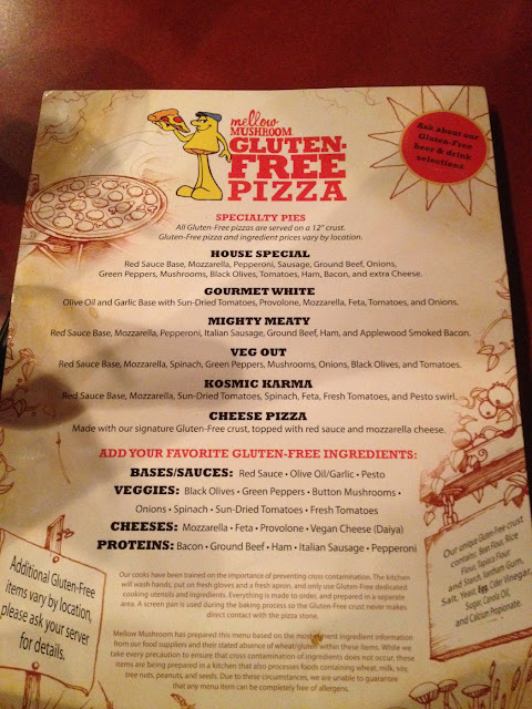 Gluten free menu. Not bad for fake pizza, clearly not the same... Closest to the real thing I've fou