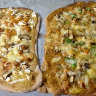 Mango Curry Pizzas with Scallops, Asparagus, Yama Imo, Mushrooms & Chicken.