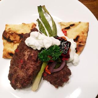 Elk 'Kafta' with tzatziki and flatbread.