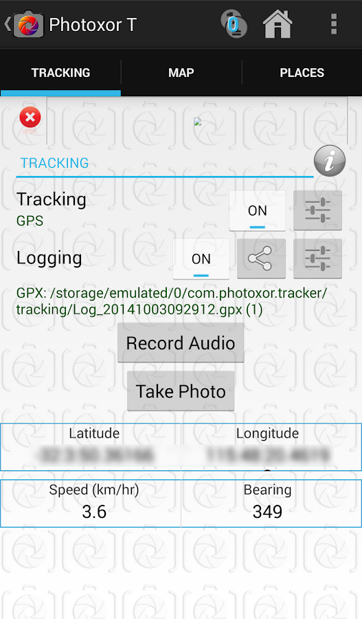 Photoxor GPS Tracker & Logger- screenshot