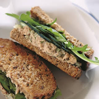 Light Salmon Salad Sandwiches with Dill.