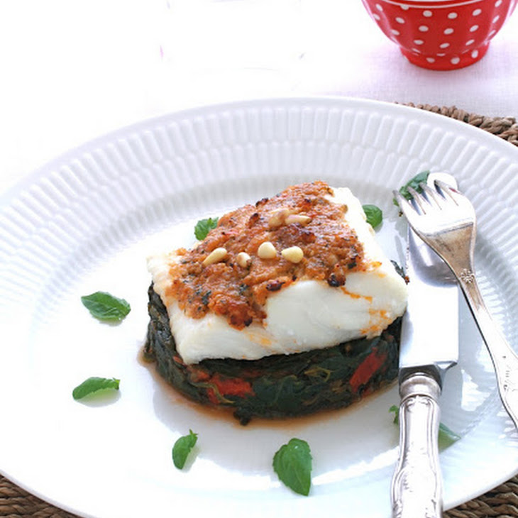 Cod Fillets with Sundried Tomato Pesto, Spinach, and Tomatoes Recipe