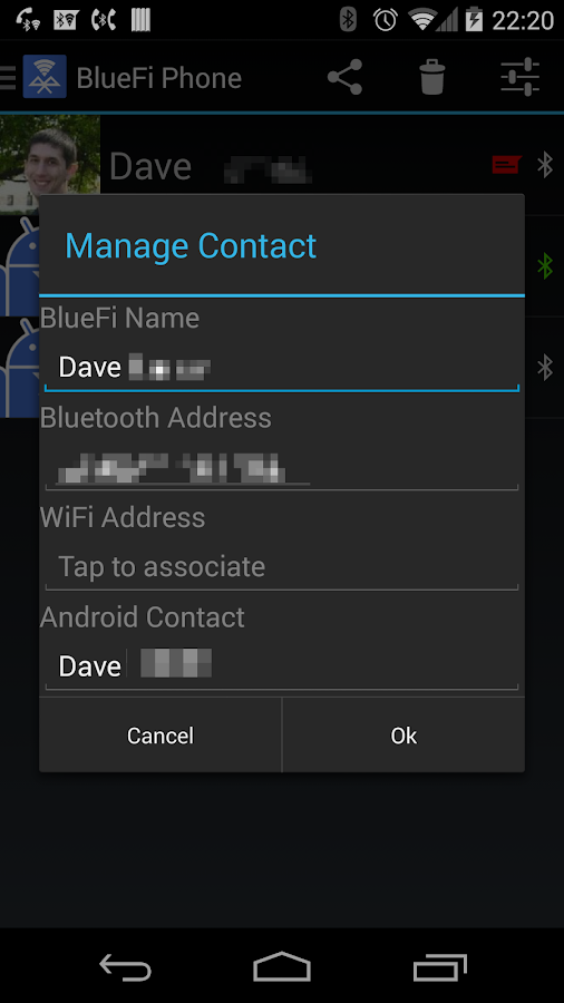BlueFi Phone- screenshot
