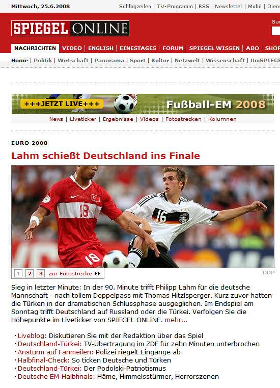 SPIEGELOnline Startseite kurz nach dem EM-Halbfinale 2008