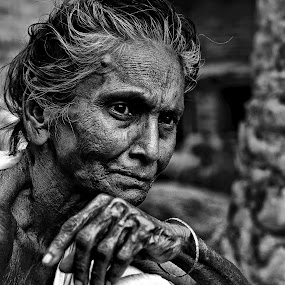 Facial expression by Shibasish Saha - Black & White Street & Candid ( street life, girl, old lady, black and white, old woman, portrait )