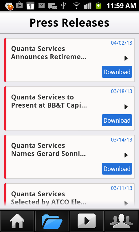 Quanta Services IR - screenshot