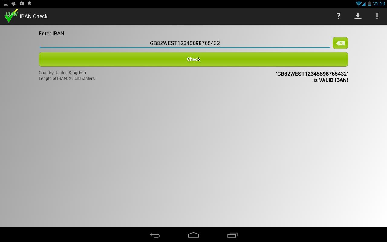 IBAN Check- screenshot