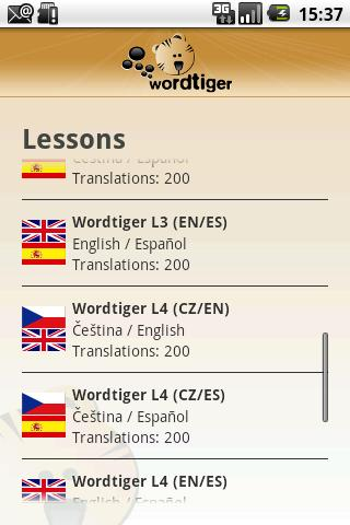 Wordtiger - language learning- screenshot