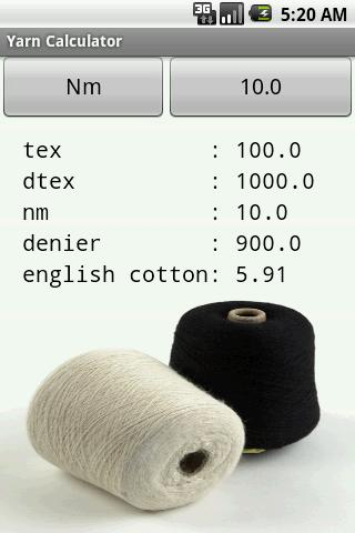 Yarn Calculator - screenshot