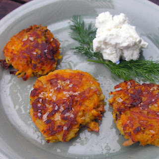 Sweet Potato Pancake With Chevre And Dill.