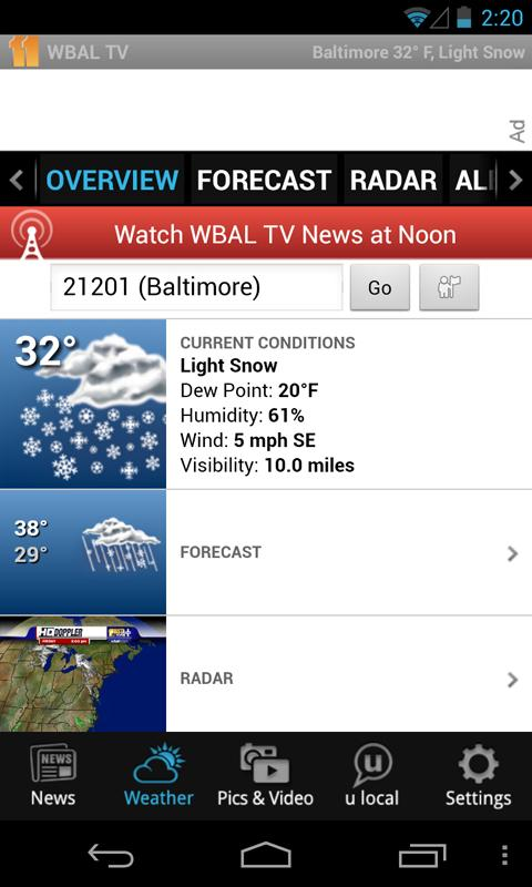 WBALTV Baltimore news, weather - screenshot