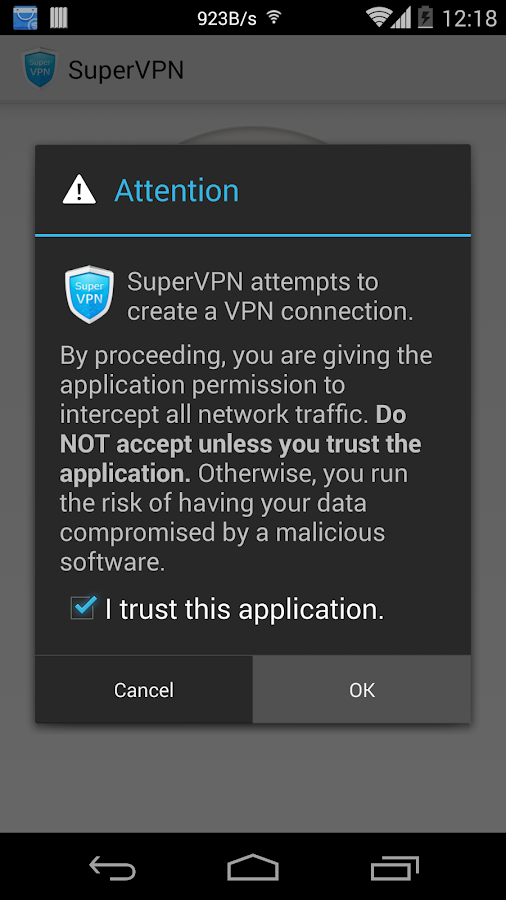 SuperVPN Free VPN Client: screenshot