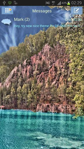 GO SMS Theme 湖 山