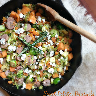 Sweet Potato, Brussels and Apple Hash with Cranberry Turkey Sausage and Goat Cheese.