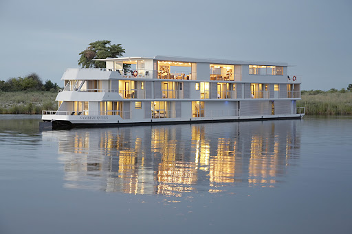 Zambezi-Queen-exterior - The Zambezi Queen offers a luxurious river safari on the Chobe River where Zimbabwe, Zambia, Botswana and Namibia all meet.