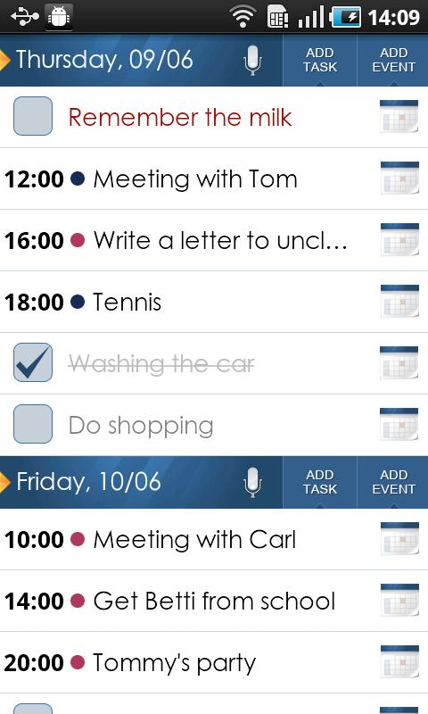 beOrganized Calendar and Tasks - screenshot