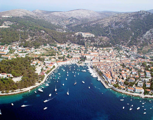 Hvar-Croatia-aerial - The lovely city of Hvar, on the Croatian island of the same name, is a treasure of natural beauty and charming architecture. The nightlife is pretty active, too.