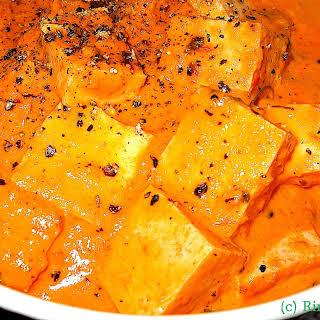 Tofu In A Lightly Spiced Red Pepper Cream Sauce.