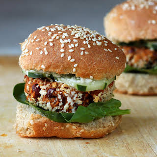 Sweet Potato Adzuki Bean Burger Sliders with Dill Aioli.