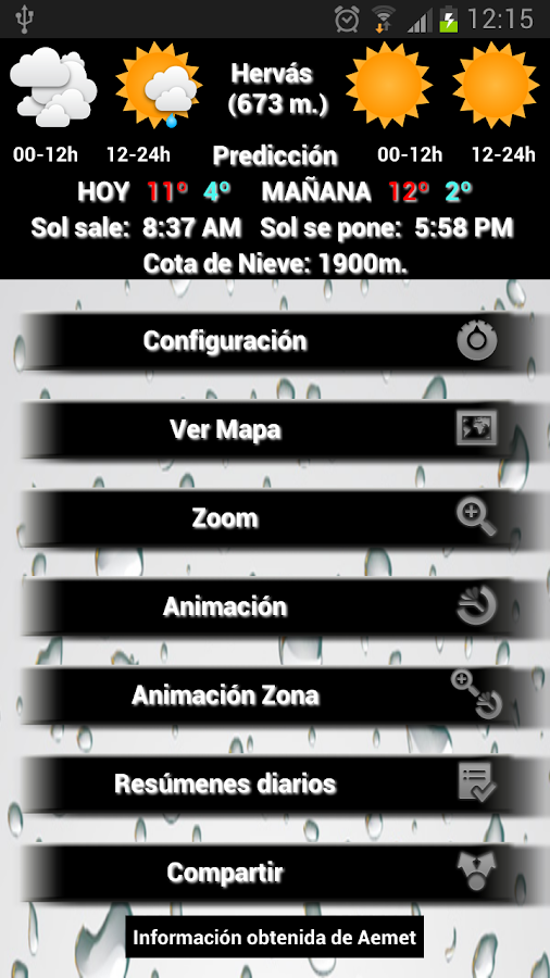 Info Lluvia- screenshot