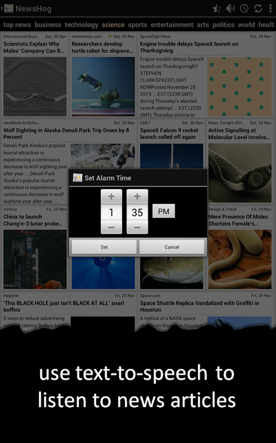 NewsHog: Google News & Weather - screenshot