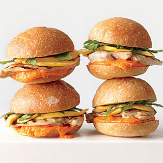 Grilled Chicken Sandwiches with Pickled Squash and Romesco Mayonnaise.