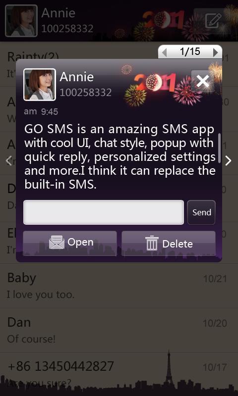 GO SMS Pro New Year - Night screenshot #2