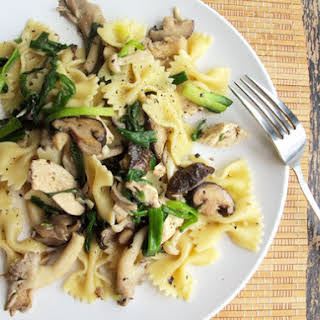 Chicken Pasta with Mixed Mushrooms and Green Onions.