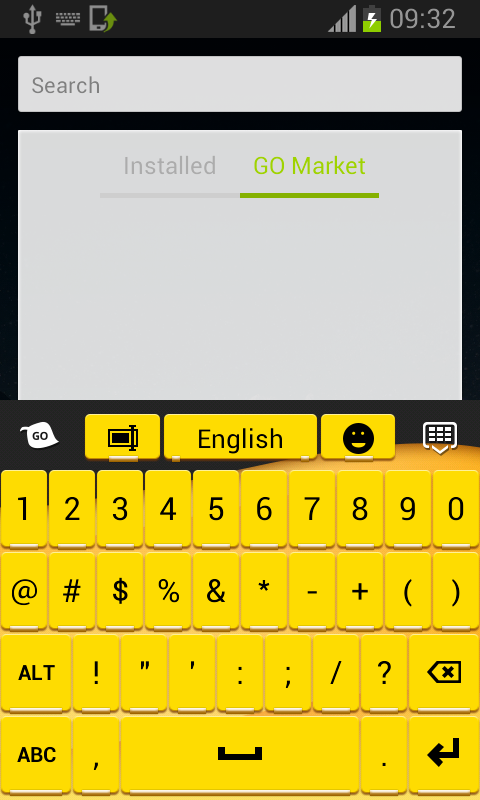 Keyboard for Android Yellow - screenshot