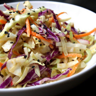 Asian Slaw Salad with Miso Ginger Dressing