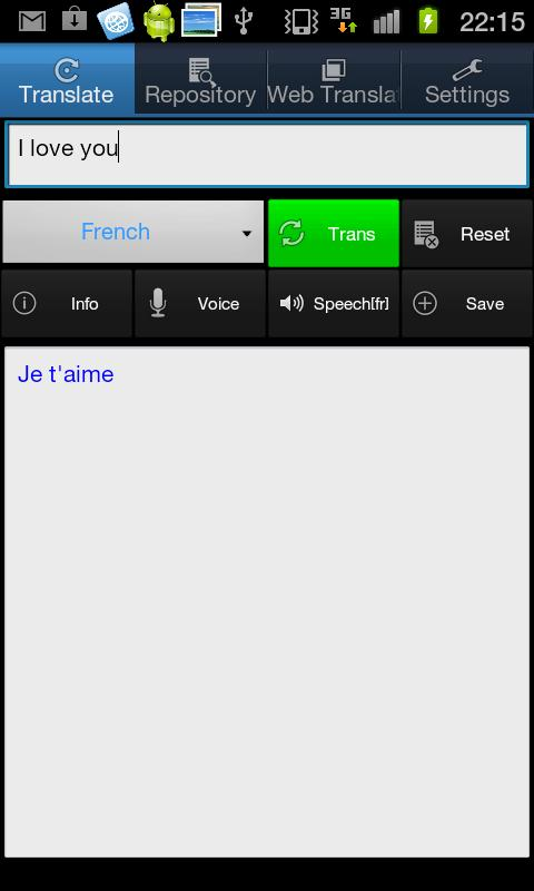 eTranslate - screenshot