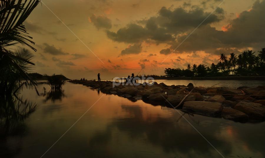 Let's Fishing by Al Alc - Landscapes Sunsets & Sunrises ( sunset, fishing )