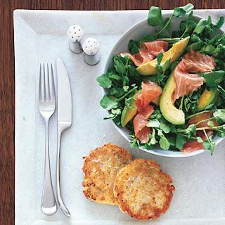 Potato Latkes with Watercress, Smoked Salmon, and Avocado Salad.