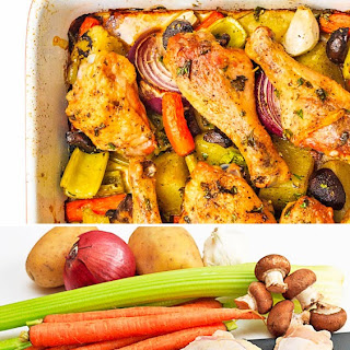 Chicken Roasted on a Bed of Vegetables.