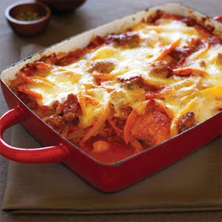 Baked Polenta with Sausage and Tomato-Pepper Sauce