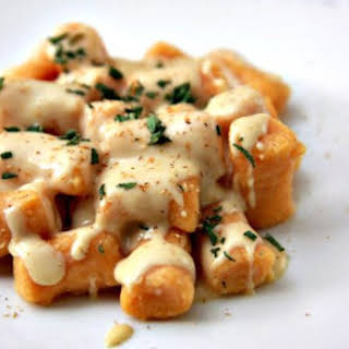 Sweet Potato Gnocchi with Gouda Cheese Sauce.